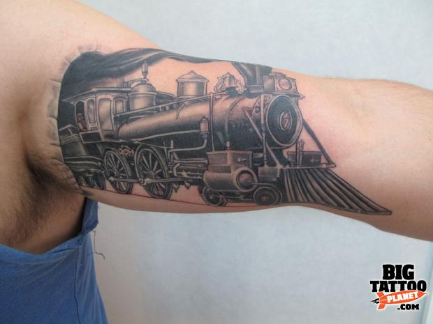 steam locomotive tattoo the image kid has it. Black Bedroom Furniture Sets. Home Design Ideas