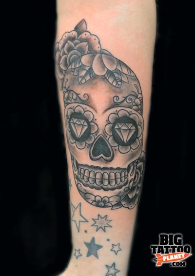 Sugar Skull Tattoo Black And Grey Jo pink - black and grey sugar